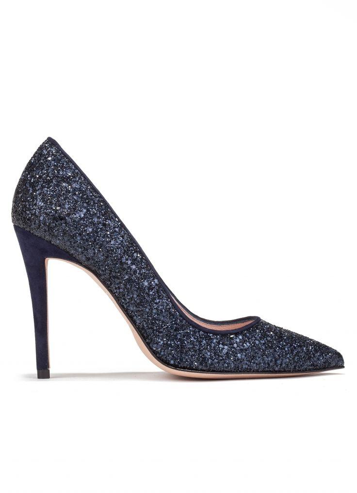Zapatos Tacon Ancho Azul Marino