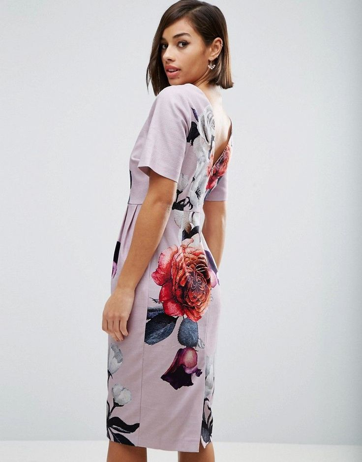 ASOS PETITE Smart Dress with V Back in Rose Placement Floral - Multi
