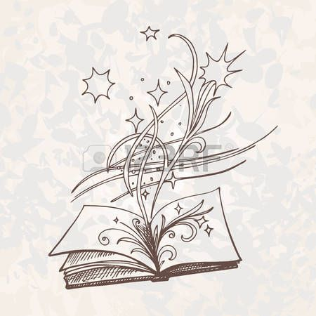 The book is fantasy.  Sketch style vector illustration. Old hand drawn engraving imitation. Eps-8.