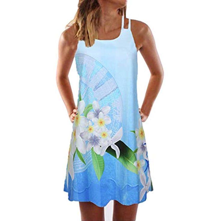 VEMOW Sommer Elegante Damen Frauen Lose Vintage Sleeveless 3D Blumendruck Bohe C…