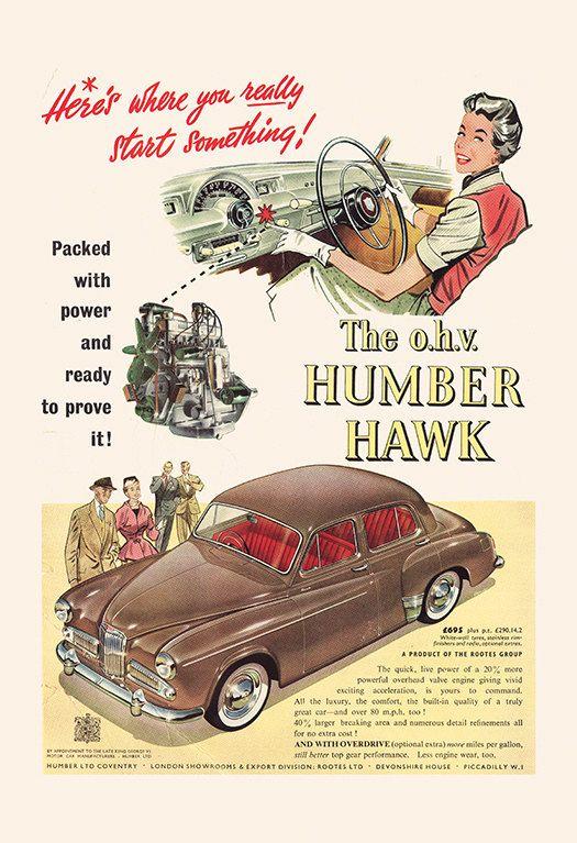 Humber Hawk Car Poster Retro Humber Car Ad Vintage