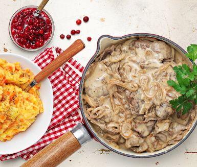 Recept: Renskav med karljohan, senap och enbär - ersätt köttet med vegetariska alternativ, t.ex quorn, sojastrips, osv.