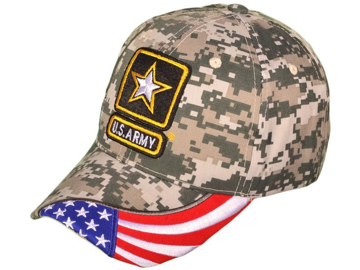 US Army Logo w/Shadow & Flag Baseball Hat (Digital Camo)
