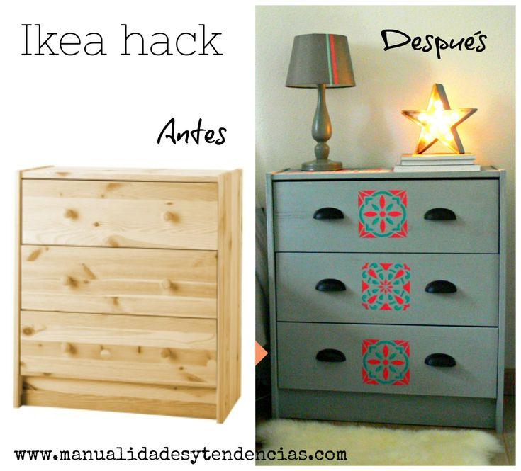 Antes y después de una cómoda Rast de Ikea www.manualidadesytendencias.com #stencil #Ikea #hack #Rast #cómoda #customizar #muebles #diy #chalkpaint #pintar #baldosas #hidráulicas #plantilla #manualidades