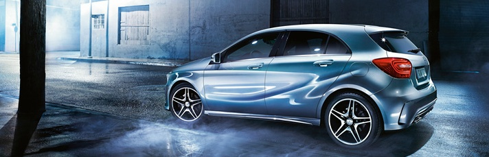 Mercedes-Benz A-Class. Defined edges alongside tautly tensioned surfaces, concave curves and convex sweeping lines.