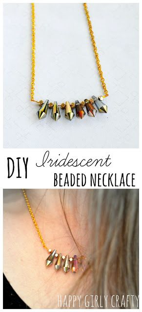 DIY Iridescent beaded necklace in 6 easy steps!
