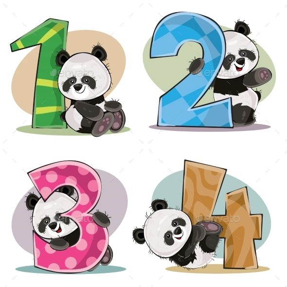 Vector Set Of Baby Panda Bears With Numbers Baby Panda Bears Baby Panda Panda Bear