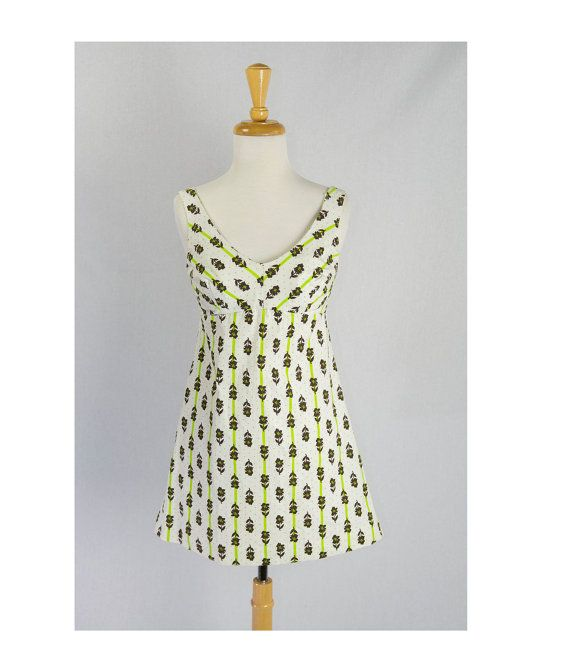 Vintage 1970's Polka-dot Stripe Mini Dress Built in by madvintage