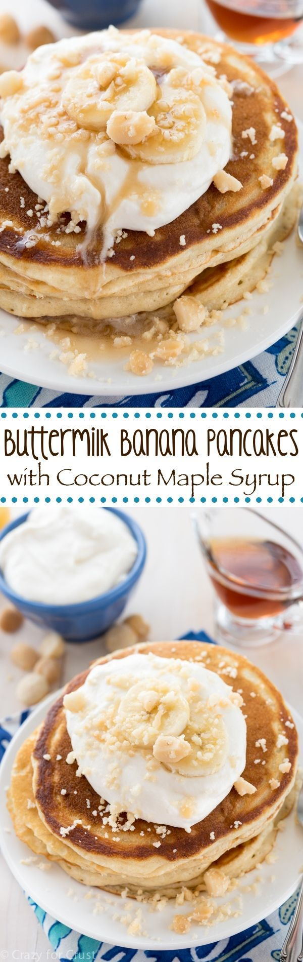 These Buttermilk Banana Pancakes are so good! It's an easy pancake recipe that's yields fluffy pancakes that taste so good with coconut maple syrup.