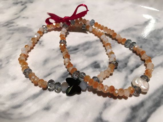 The Mrs George Agate and Crystal Bead Charm Bracelet Set by SoFetchYo on Etsy