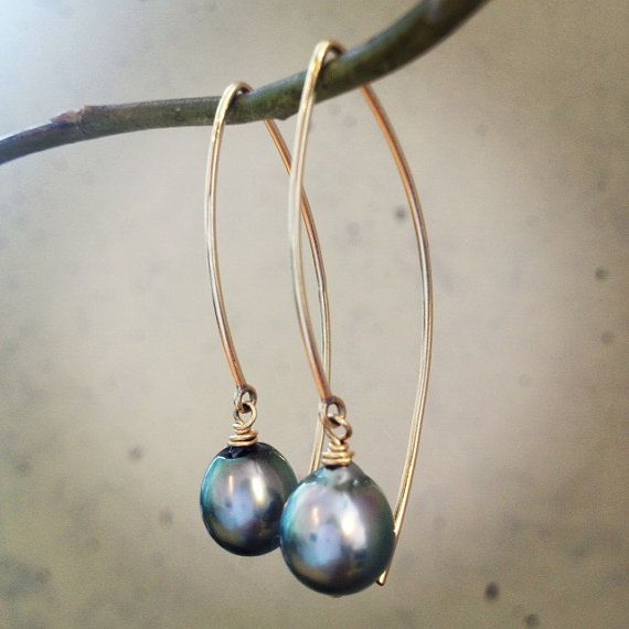 14kt Gold Filled Tahitian Pearl Earrings by SALTWATERSWIM on Etsy, $58.00