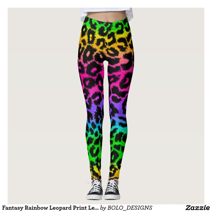 Fantasy Rainbow Leopard Print Leggings by BOLO Designs.