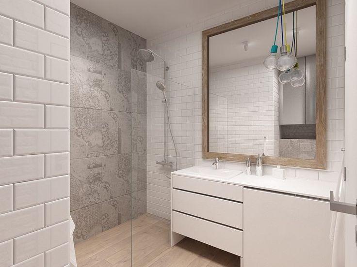TAK! Kapa Studio - rama lustra, kafelki małe, dekoracyjna glazura wydzielająca strefe prysznica, podloga drewno-podobna