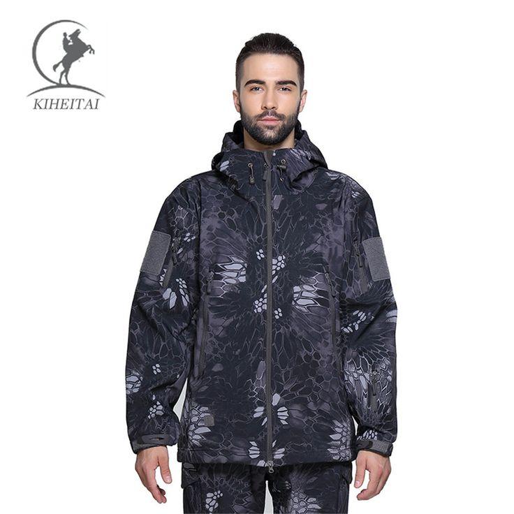 KIHEITAI TAD Camouflage Military Tactical Jacket Men Shark Skin Softshell Jackets Army Clothes Camo Autumn Coats Army Clothing