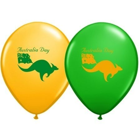 Australia Day Latex Balloons,  Party Decorations with kangaroos and a flag. Green and yellow / gold colours