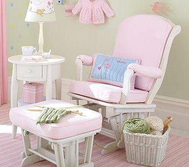 Pink & White Glider.: Pink Colors, Pottery Barn Kids, Gliders Ottomans, White Gliders, Sleigh Gliders, Pottery Barns Kids, Chairs White, Girls Nurseries, Baby Nurseries