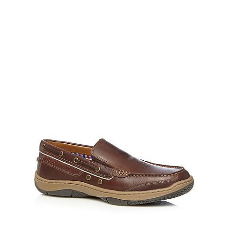 Maine New England Brown leather apron front boat shoes- at Debenhams Mobile