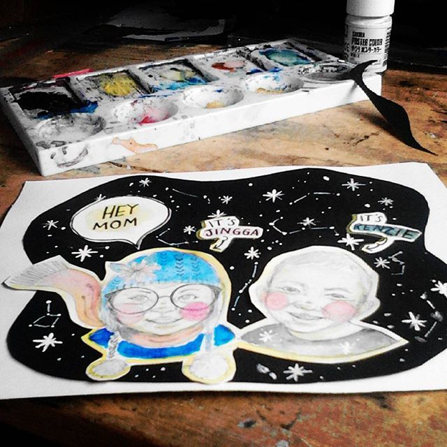 cute kids from galaxy far far away galaxy.. jingga and kenzie, tidak bisa berhenti gemayy liat foto merekaaa. . . . .  #sketch #illustration #doodle #art #artwork #handmade #drawing #passion