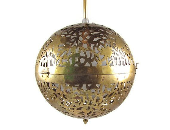 Exotic Orb Vintage Moroccan Pierced Brass Sphere Pendant