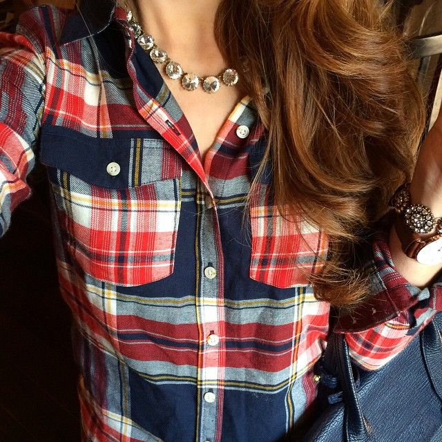 Plaid Shirt from Target + Necklace from Stella & Dot