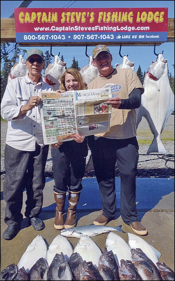 George Seifert, Emily & Anthony Butt taking a break to read the Merchandiser after a great day fishing with Captain Steve of Ninilchik, Alaska in the Cook Inlet.  Submitted by George Seifert, Reading, PA