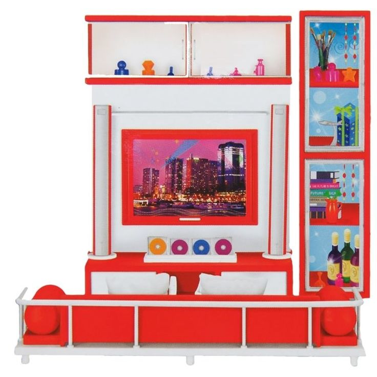 Puppenwohnzimmer Puppen Spielzeug TV Fernseher Mädchen Kinder Puppenbett Zubehör