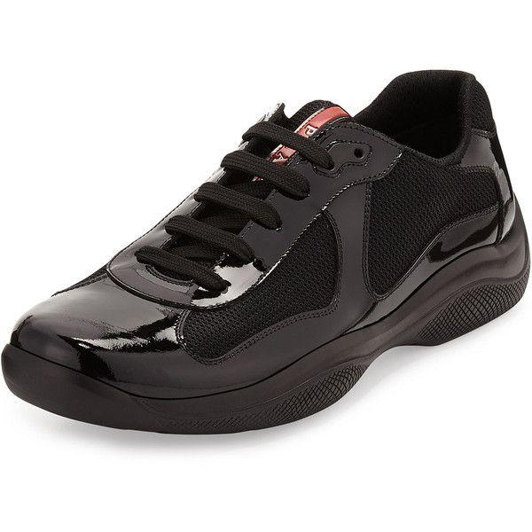 Prada Punta Ala Leather Sneaker (64090 RSD) ❤ liked on Polyvore featuring men's fashion, men's shoes, men's sneakers, black, mens leather sneakers, mens shoes, prada mens sneakers, mens lace up shoes and mens black sneakers