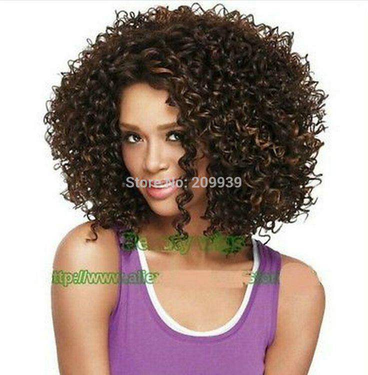 Кк 001224 мода короткие каштановые, Черный, Светлые вьющиеся женщин натуральные волосы парик 5.2
