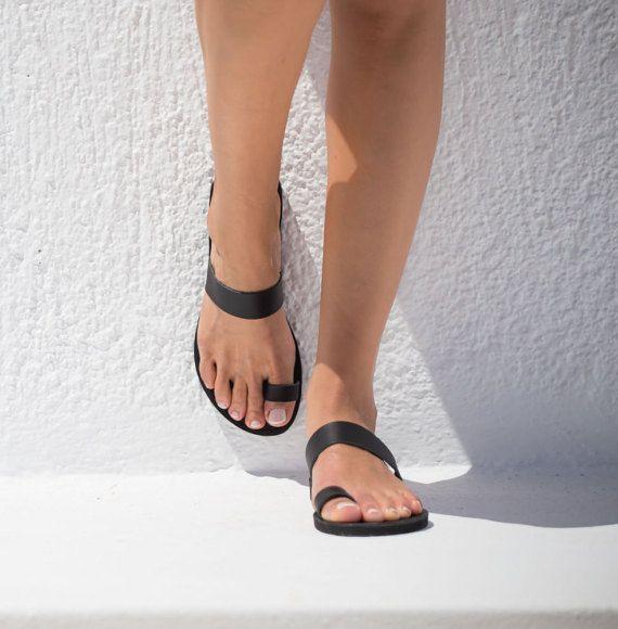 Sandalen lederen sandalen Griekse sandalen Teen ring