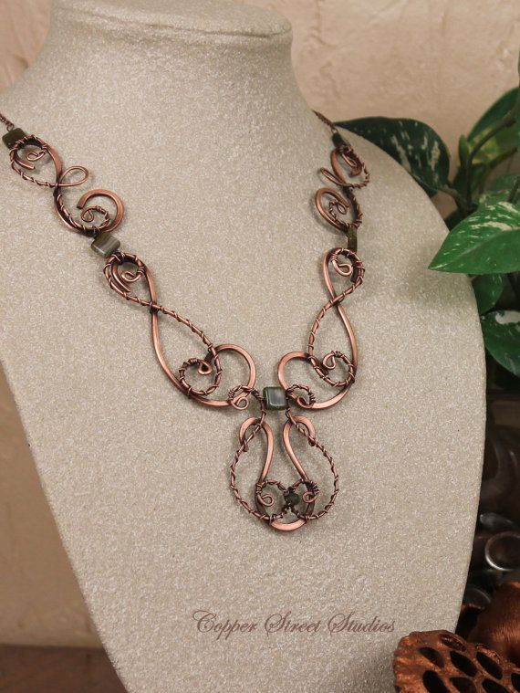 Unique Necklace for Women Swirl Copper Wire by CopperStreetStudios