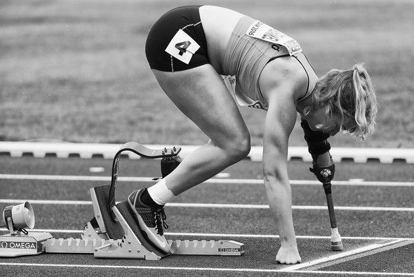 (Editors Note: This image has been turned black and white). Marlene van Gansewinkel of the Netherlands starts the womens 200m T43/44 Final  during day four of the 23rd European Athletics Championships at Olympic Stadium on July 9, 2016 in Amsterdam, Netherlands.
