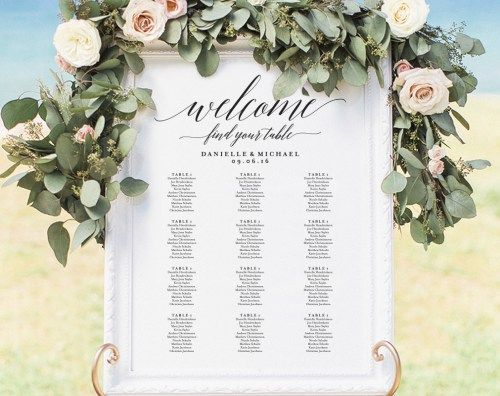 Wedding Seating Chart Sign, Seating Chart Printable, Seating Chart Template, Seating Board, Seating Plan, PDF Instant Download #BPB310_52 from Bliss Paper Boutique — $16.50