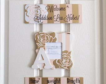 Baby Girl Hospital Door Hanger - Welcome Baby Girl Pink & Gold - Hospital Baby Sign - Baby Door Hanger - Nursery Hanger