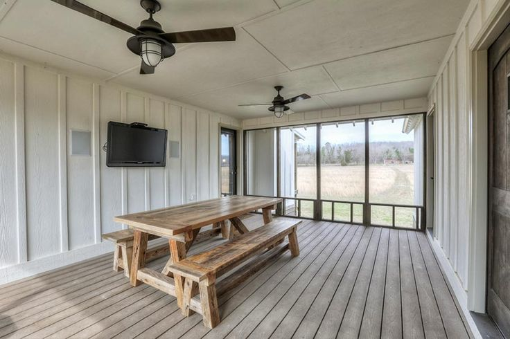 Camp Creek Cabin is a dogtrot house plan that has a spacious screened porch, stone fireplace, vaulted family room and a loft that will hold up to six bunk beds.