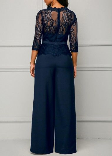 Scalloped Neckline Lace Panel Navy Jumpsuit | Rosewe.com - USD $38.02