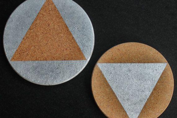 Metallic/White Cork Trivets by nimwitstudio on Etsy