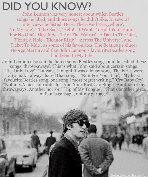 "John Lennon song facts Unfortunately John, ""And your bird can sing"" is my favorite Beatle song. I feel bad that it was a throwaway for you. It still makes me smile when I hear it!(ac)"