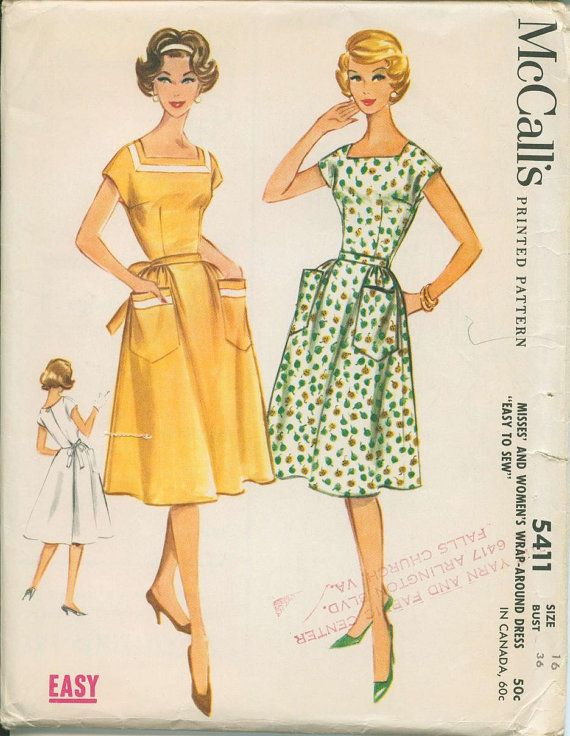 1960 McCalls 5411 Wrap Around Dress Sewing by OhSewCharming