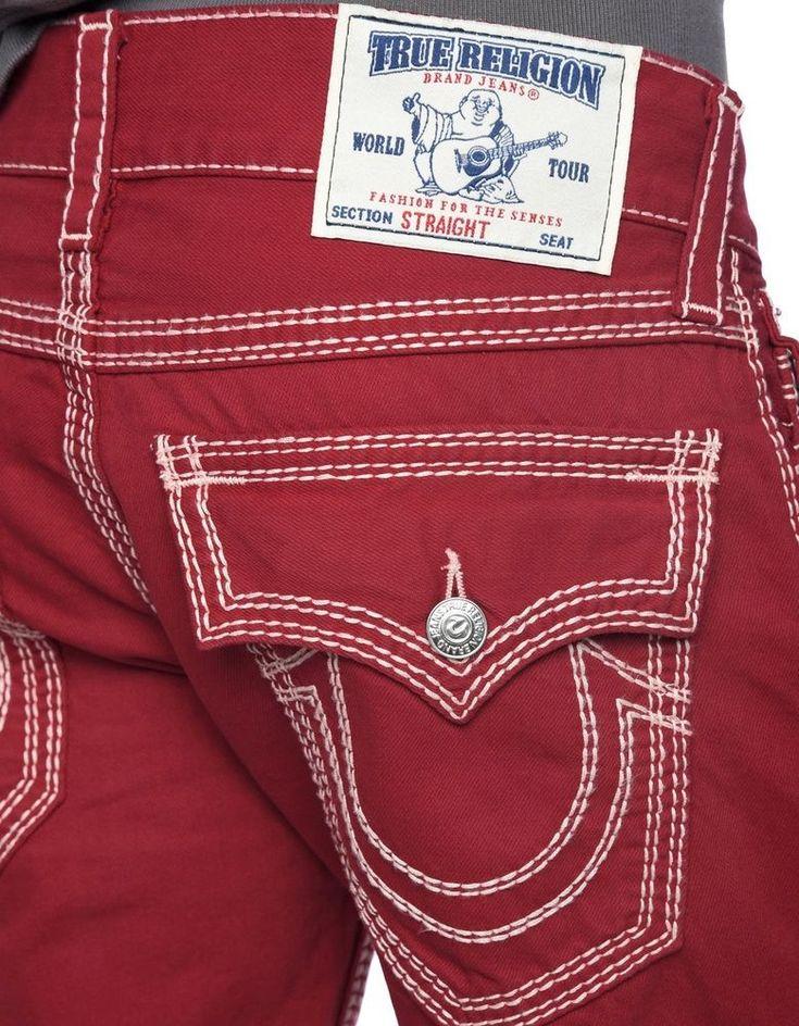True Religion Mens Jeans Size 34 Straight Nat Big QT Rebel Red NWT $275 #TrueReligion #ClassicStraightLeg