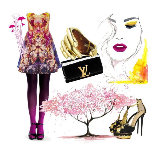 Spring with Virivee fuchsia-black tights.  #virivee #tights #pantyhose #summerfashion #fuchsia #forher #style #strumpfhose #calze #パンスト #ombre #ombretights
