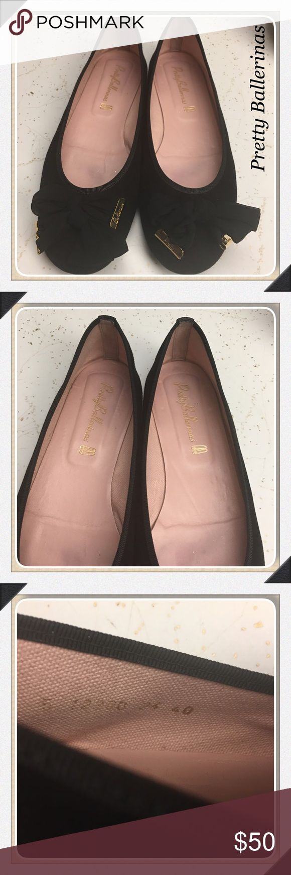 Pretty Ballerinas Black Suede Gold Accent Size 40 Excellent pre-loved condition! Pretty Ballerinas Shoes Flats & Loafers
