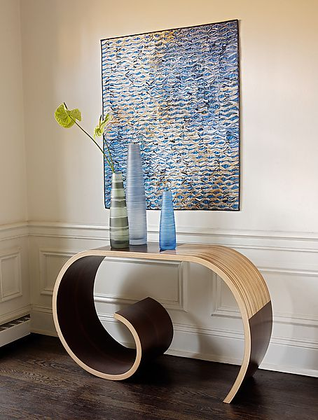 Crocus Table by Kino Guerin: Wood Console Table available at www.artfulhome.com An appealingly modern console table of wenge and zebrawood veneers over laminated birch plywood. Signed beneath.