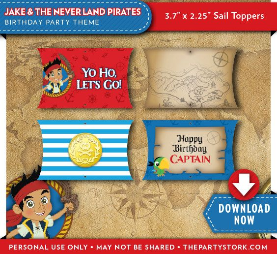 Jake and the Neverland Pirates Cupcake Toppers | Jake Birthday Party | Printable | Invitation & Party Pack Available | Instant Download