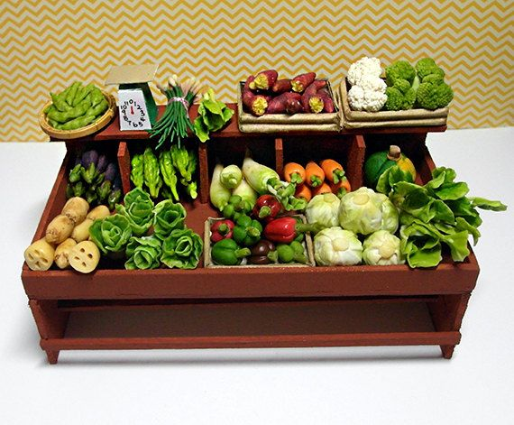 Miniature Vegetable Stand, Miniature Food, Hand-made Using Clay and Balsa Wood Sheet. , via Etsy.