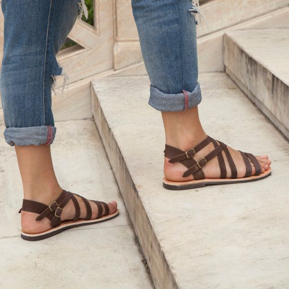 Brown Gladiator Sandals  Strappy Women Leather Sandals by Pterna