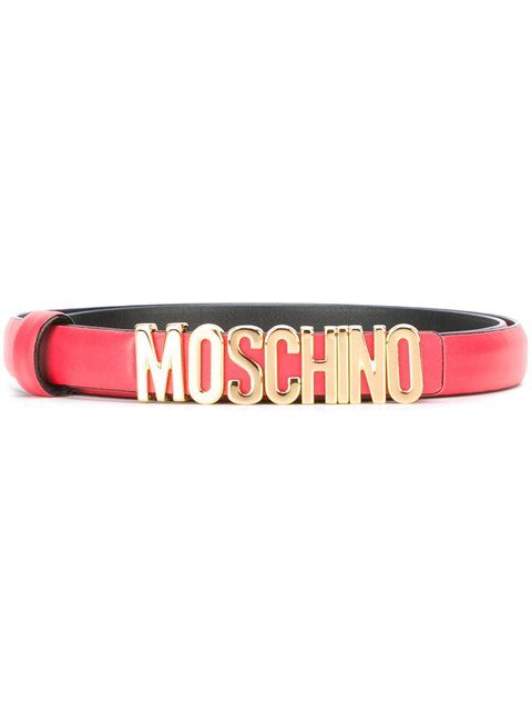 Shop Moschino logo plaque belt.