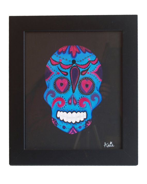 Sugar Skull Original Acrylic Candy Skull Painting On Mount Board -  Black And Blue Candy Skull- Day of The Dead-Día de Muertos