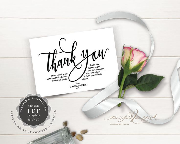 38 best thank you cards images on pinterest wedding places card thank you card instant download pdf template kraft wedding thank you card in rustic calligraphy pronofoot35fo Image collections