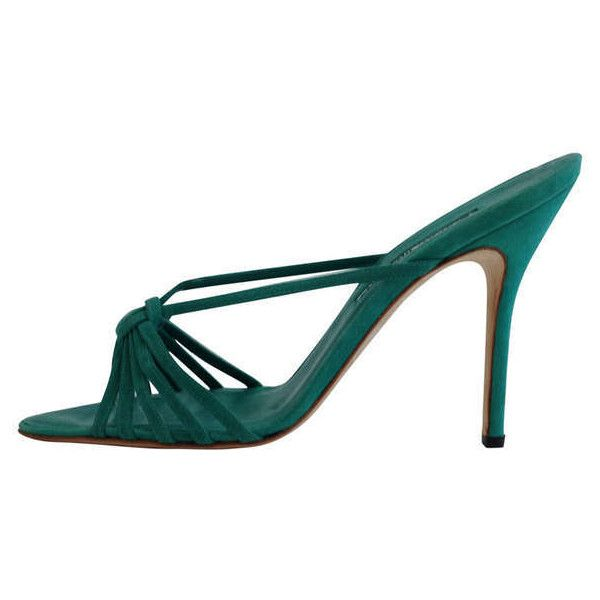 Preowned Manolo Blahnik Teal Suede Mule (22,240 INR) ❤ liked on Polyvore featuring shoes, heels, green, strappy high heel shoes, high heel mules, strappy heel shoes, teal green shoes and green suede shoes