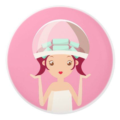 Hood Dryer Beauty Girl Ceramic Knob - makeup artist gifts style stylish unique custom stylist